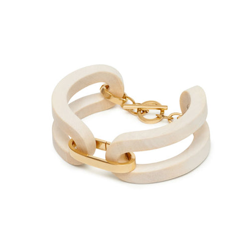 Carved White Wood and Gold Bracelet