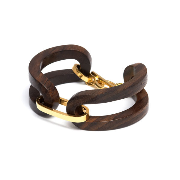 Branch jewellery - Brown wood open link bracelet set with gold