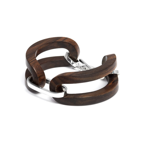 Branch jewellery - Rosewood open link bracelet set with silver