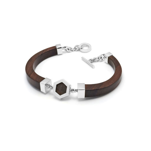 Hand Carved Wood and Silver Hexagon Bracelet