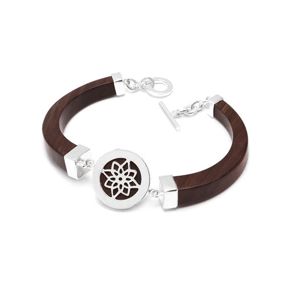 Hand Made Rosewood and Silver Lotus Bracelet