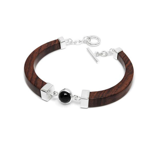 Black Stone, Silver and Carved Rosewood Bracelet