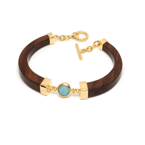 Wood Carved Amazonite and gold bracelet