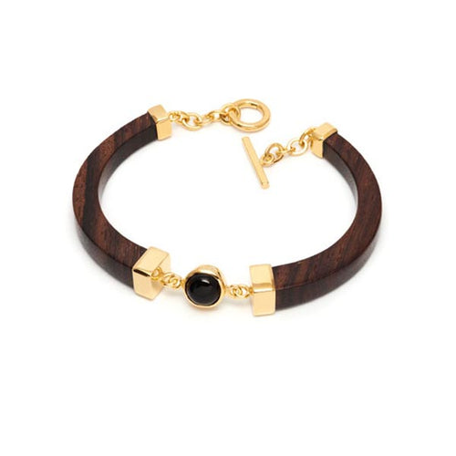 Carved Rosewood, Onyx and Gold Plated Bracelet
