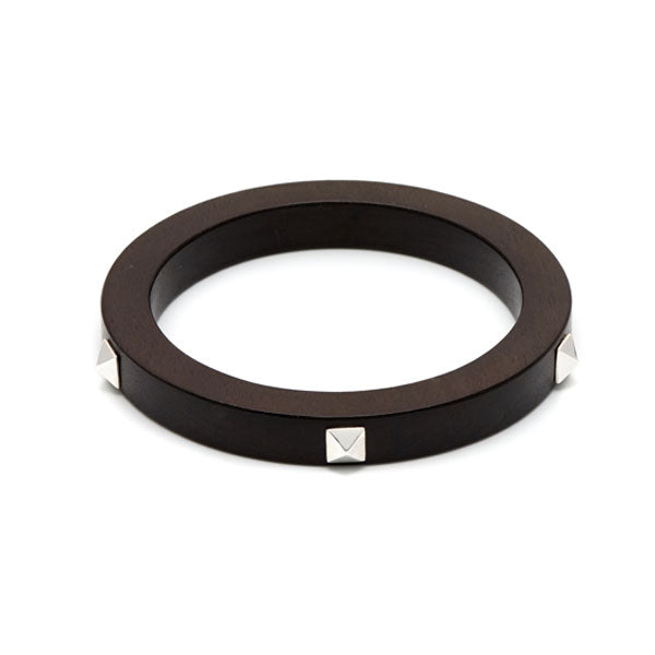 Branch Jewellery - Black wood and silver stud bangle