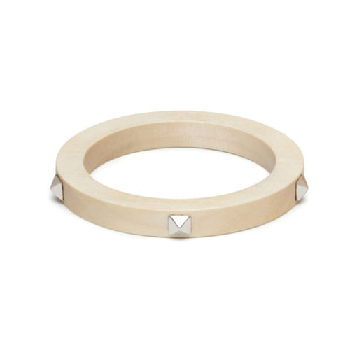 Studded White wood bangle - Silver