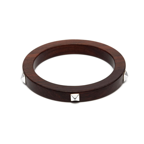Branch Jewellery – Brown wood and silver stud bangle
