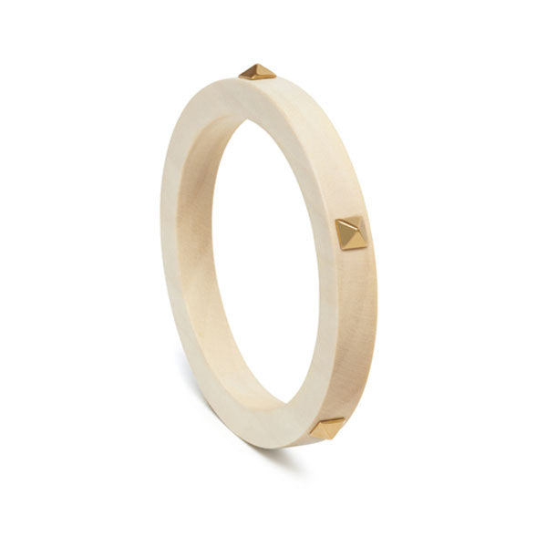 Branch Jewellery - White wood and gold stud bangle