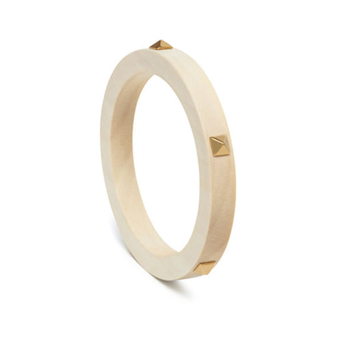 Studded White wood bangle - Gold
