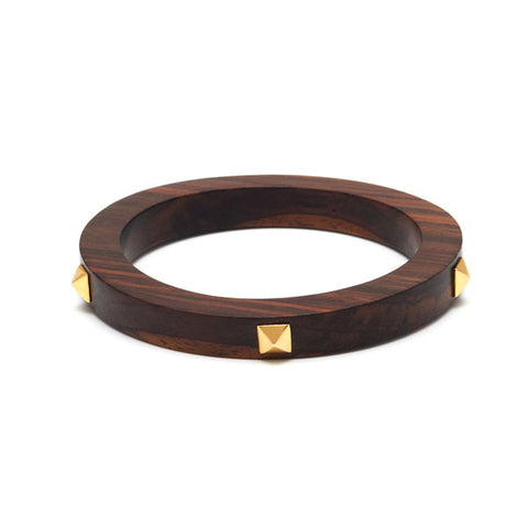 Studded Rosewood bangle - Silver