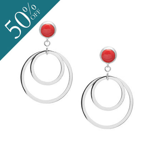 Coral stone double ring earring - Silver