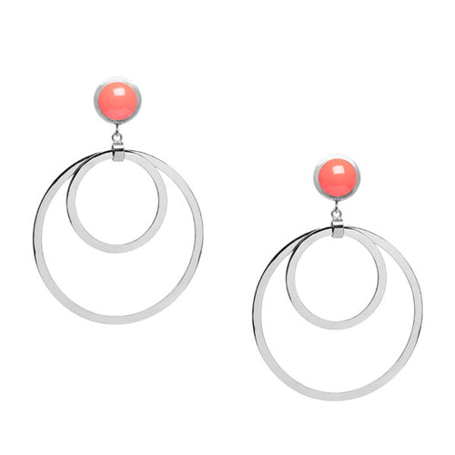 Coral stone Large double ring earring - Silver