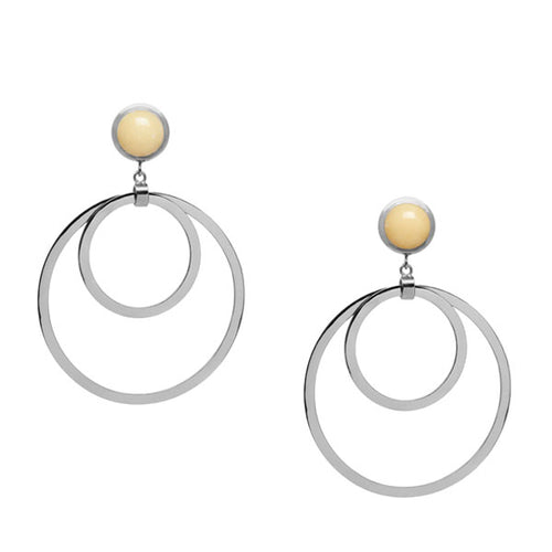 Yellow Jade Large double ring earring - Silver