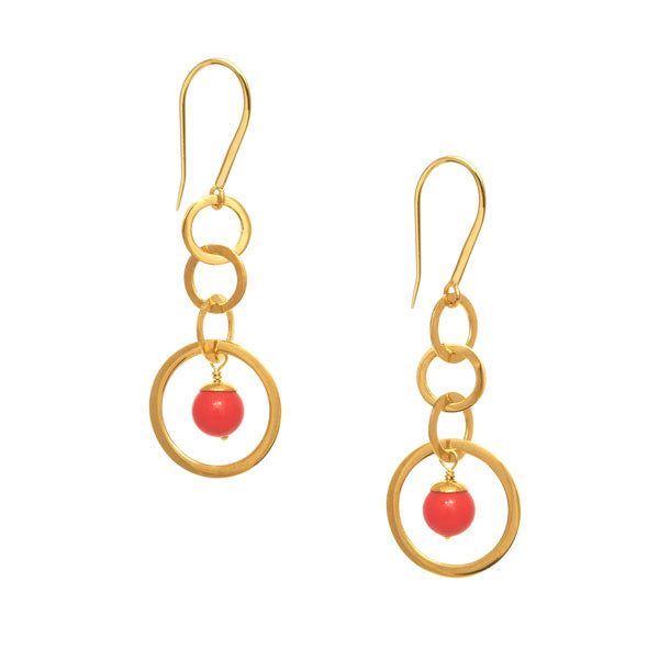 Coral stone drop earring - Gold