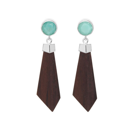 Silver Plated Blue Stone and Rosewood Earrings