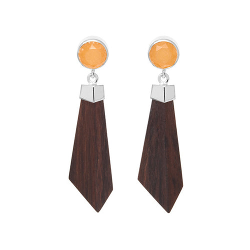 Silver and orange jade rosewood earrings