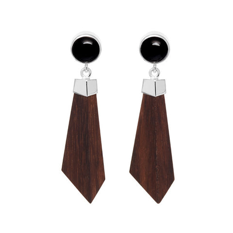 White wood stud and drop earring - Silver