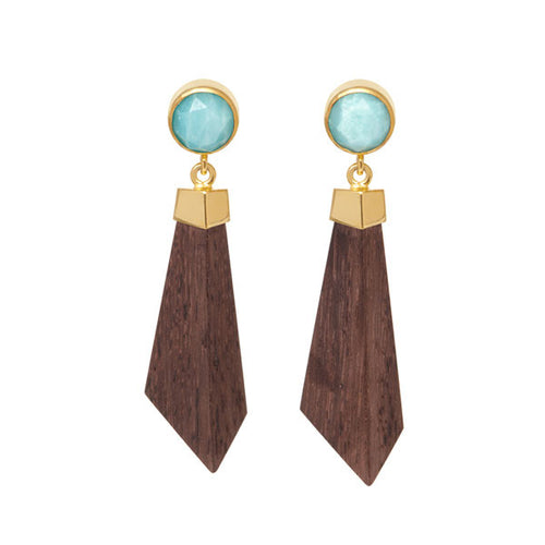 Carved Wood, Amazonite and Gold Earrings