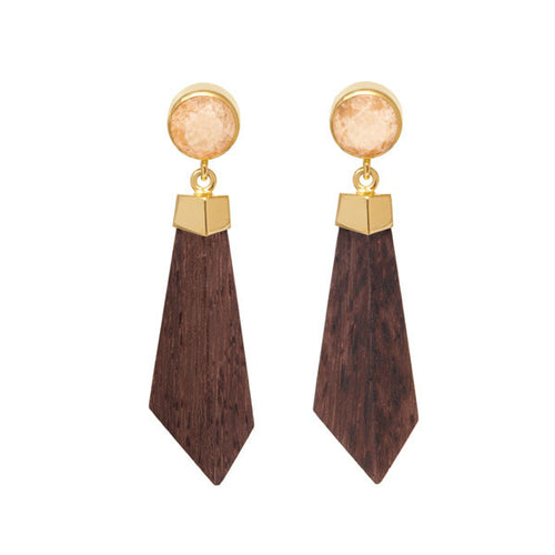 Orange Jade and Rosewood Earrings