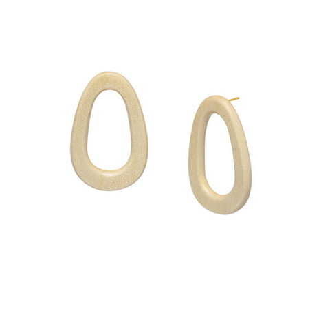 Rosewood oval and rectangle link earring