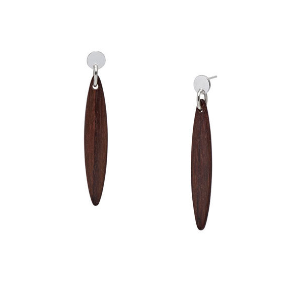 Branch Jewellery - Rosewood and silver Foli drop earring