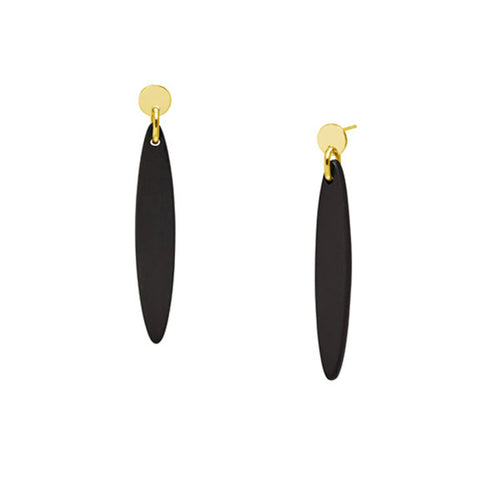 Branch Jewellery - Black wood and gold plate Foli drop earring
