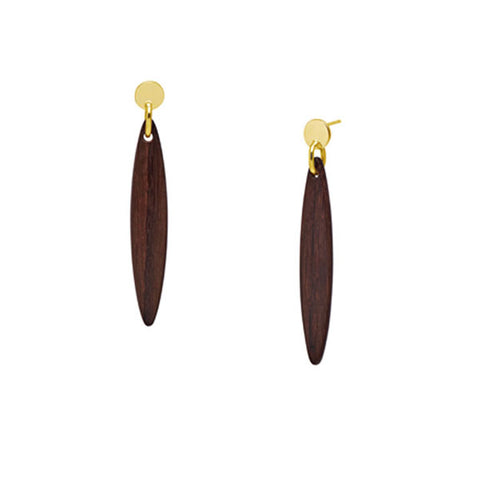 White & Black wood triple ring earring - Gold plate