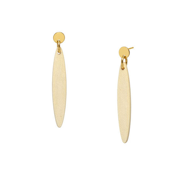 Branch Jewellery - White wood and gold plate Foli drop earring