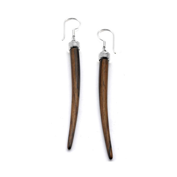 Tusk Shaped Rosewood Earrings - Silver