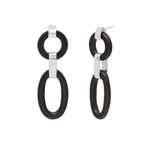 Double Black wood Link Earring - Silver