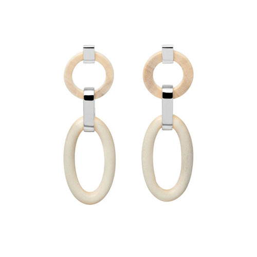 Double White Wood Silver Link Earrings