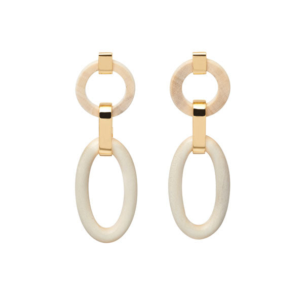Carved White Wood with Gold Link Earrings