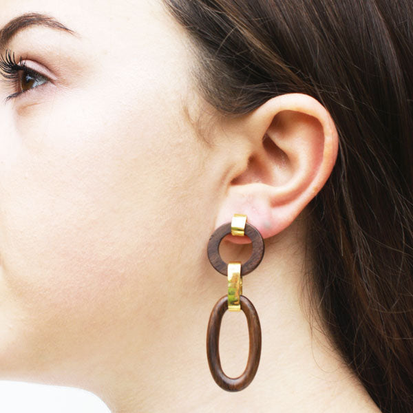 Hand Carved Rosewood and Gold Earrings