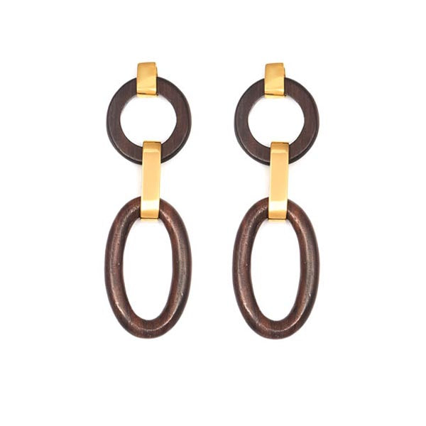 Wooden and Gold Earrings
