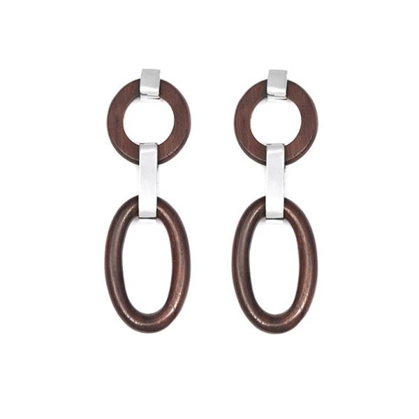 Double Link Rosewood and Silver Earrings