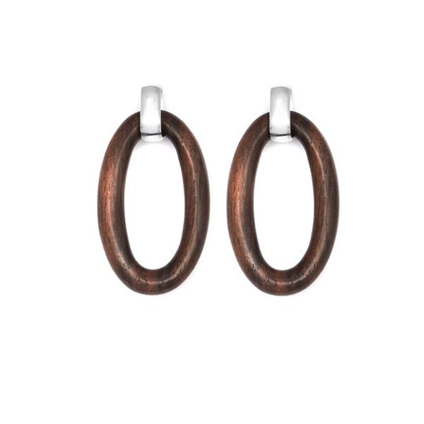Oval Silver and Wood Link Earring