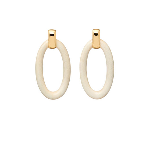 White Wood Oval and Gold Earrings