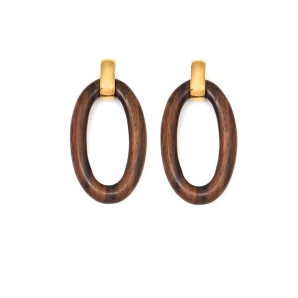 Oval Carved Rosewood and Gold Earrings