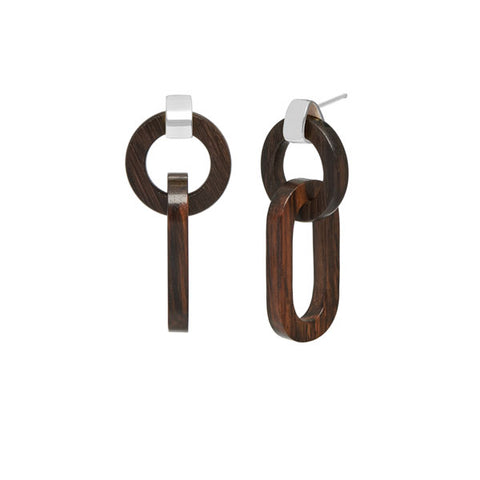 Double link black wood earring – Silver