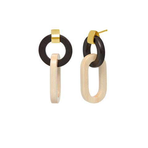 Black wood flat oval earring - Gold