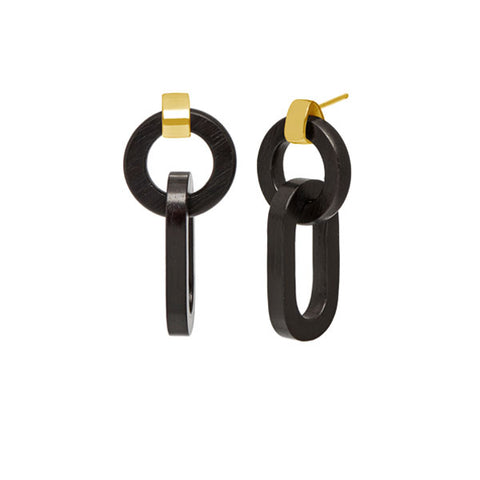 Black wood triple ring earring - Silver