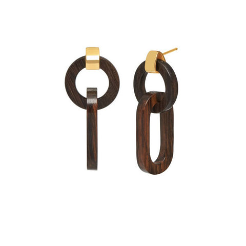 Black wood triple ring earring - Gold plate