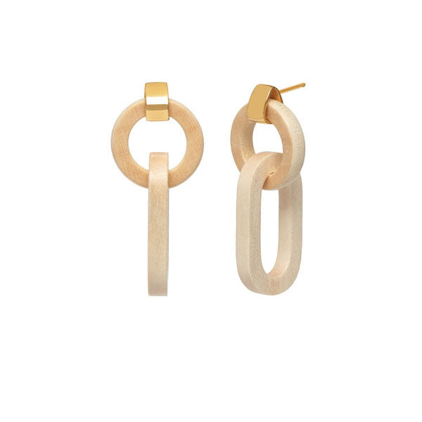 Double link white wood earring – Gold