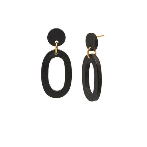Black wood flat Oval Link Earrings - Silver
