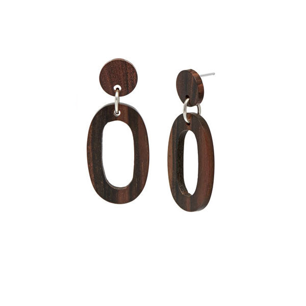 Rosewood flat Oval Link Earrings – Silver