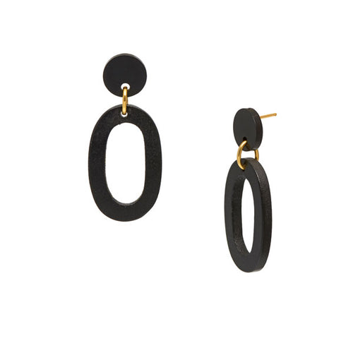 Black wood flat Oval Link Earrings – Gold plate