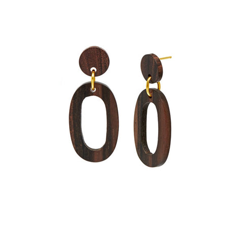Rosewood and Silver Flat Hoop Earrings
