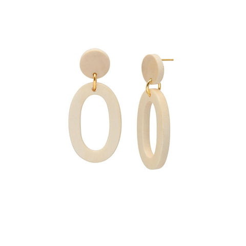 Oval White wood Link Earring - Gold