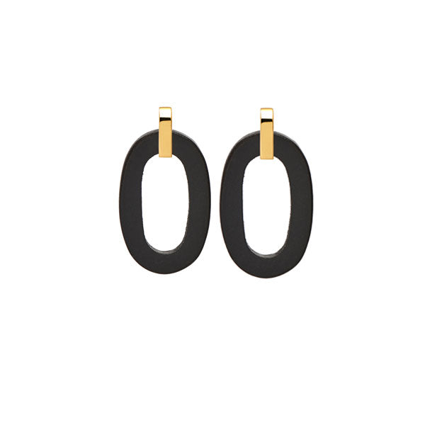 Branch Jewellery - Black wood and gold oval earrings