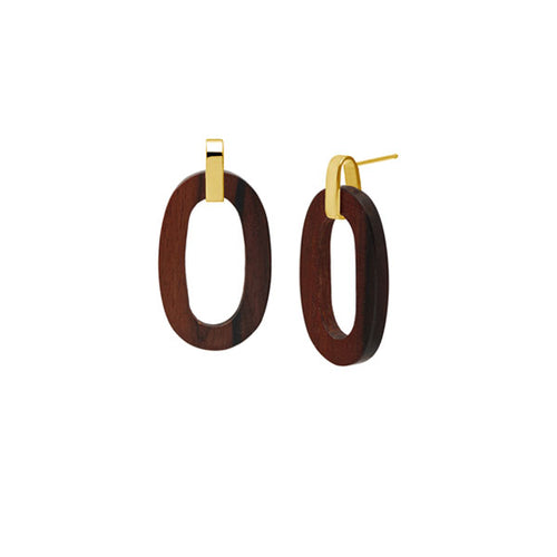 Rosewood flat oval earring - Gold